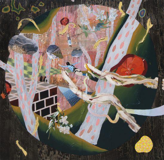 バンジージャンプと香りの間にある地図に沿って Along the map which is between bungeejumping and fragrances [Oil on canvas, Gesso, All Cracked UP, 194×194cm, 2017]
