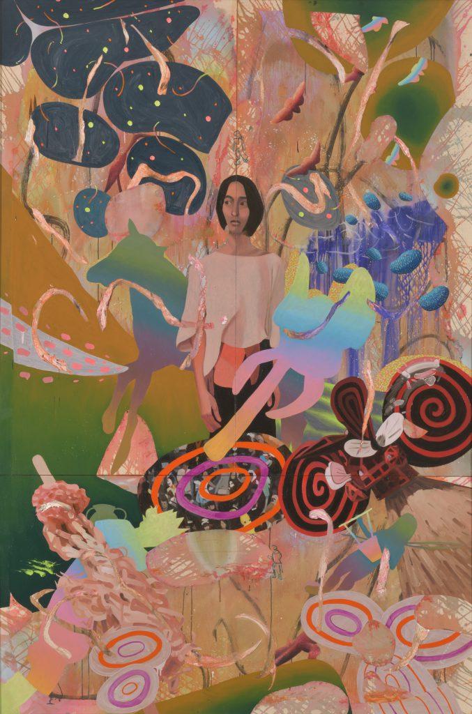 蛍のひかりに耳を澄ます I listen for Auld Lang Syne [Oil on cotton cloth, Medium, 291×194cm, 2019]