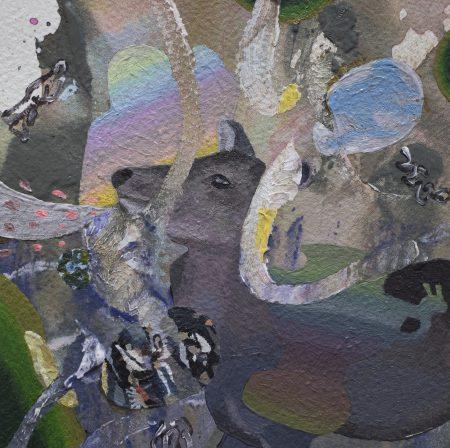 鹿がいる There is a deer [Acrylic on arches paper, AQYLA, 13×13cm, 2019]