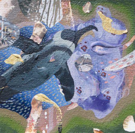 水族館と色の間にある地図に沿って Along the map which is between an aquarium and colors [Acrylic on arches paper, AQYLA, 13×13cm, 2017]