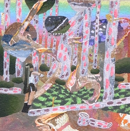 音と色の間にある地図に沿って Along the map which is between sounds and colors [Acrylic on arches paper, AQYLA, 13×13cm, 2015]