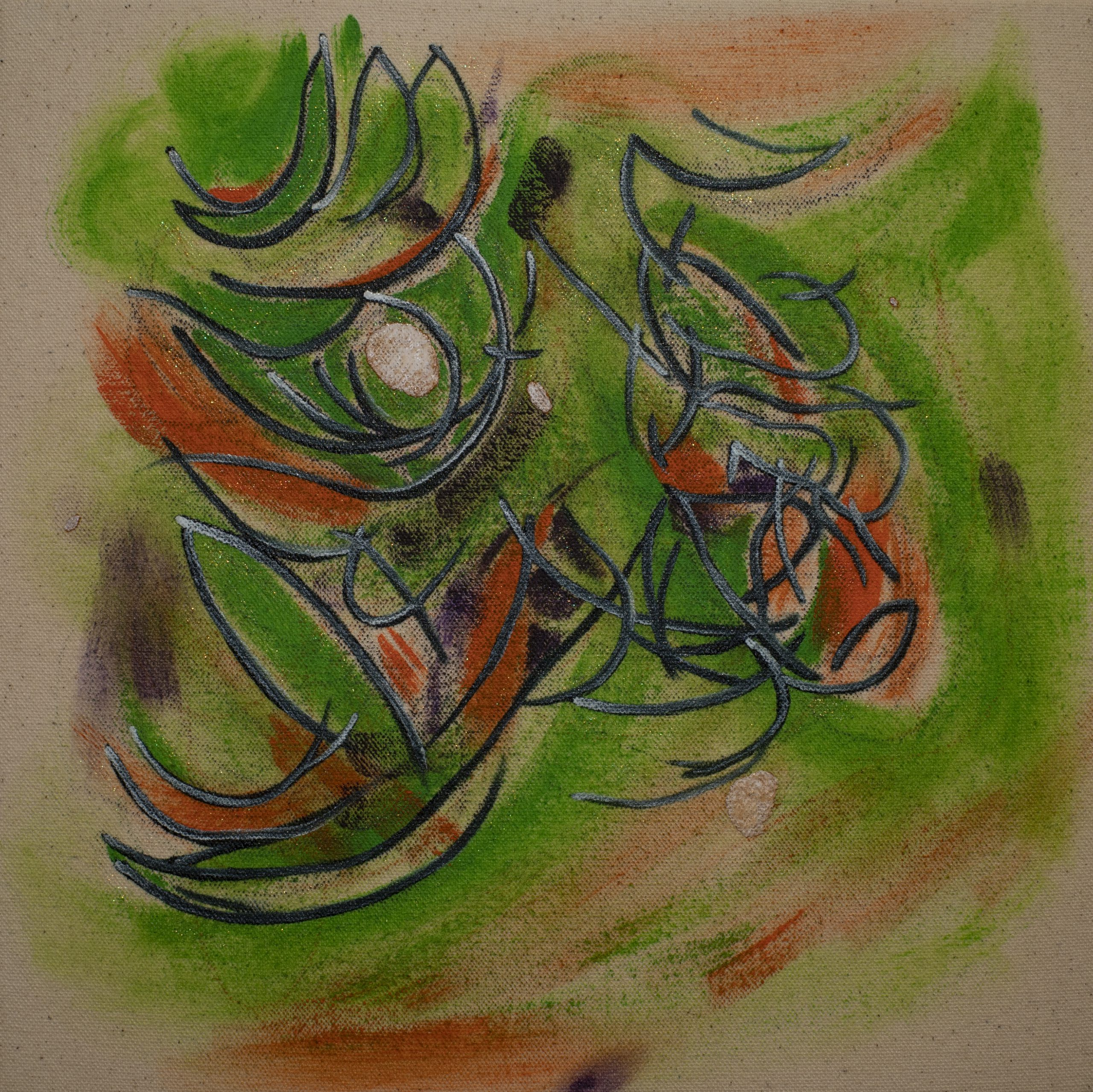 音形2021.01.06 The sound's form 2021.01.06 [AQYLA on cotton cloth, Medium, Acrylic, Oil, Dermatograph, Pencil, 27.3×27.3cm, 2021]